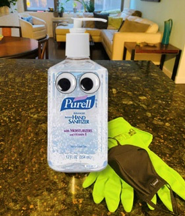 purell bottle with eyes