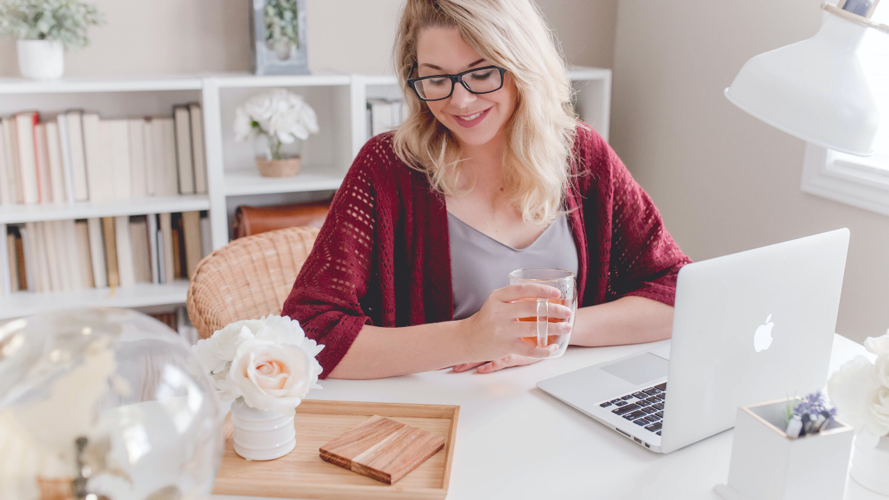 wellbeing at work - woman working from home